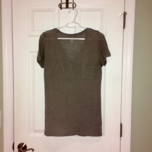J crew grey linen pocket tee